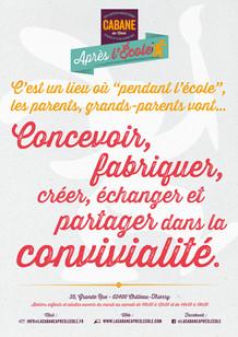 """Affiche concept """"Ateliers adultes"""" La Cabane Après l'École"""