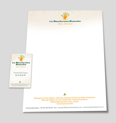 Supports de communication Cartes de visites La Mandarine Blanche