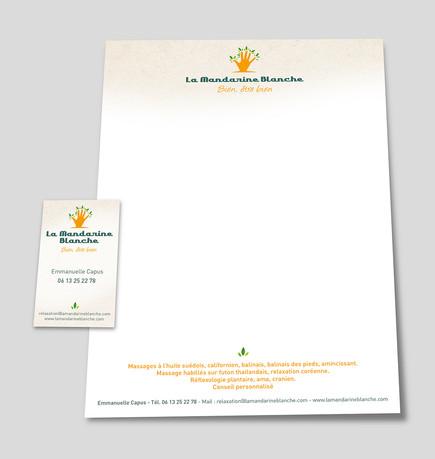 Supports de communication Cartes de visites La Mandarine Blanche