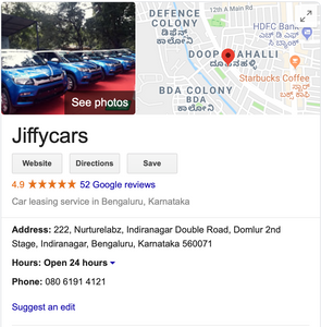JiffyCars - Google My Business Reviews