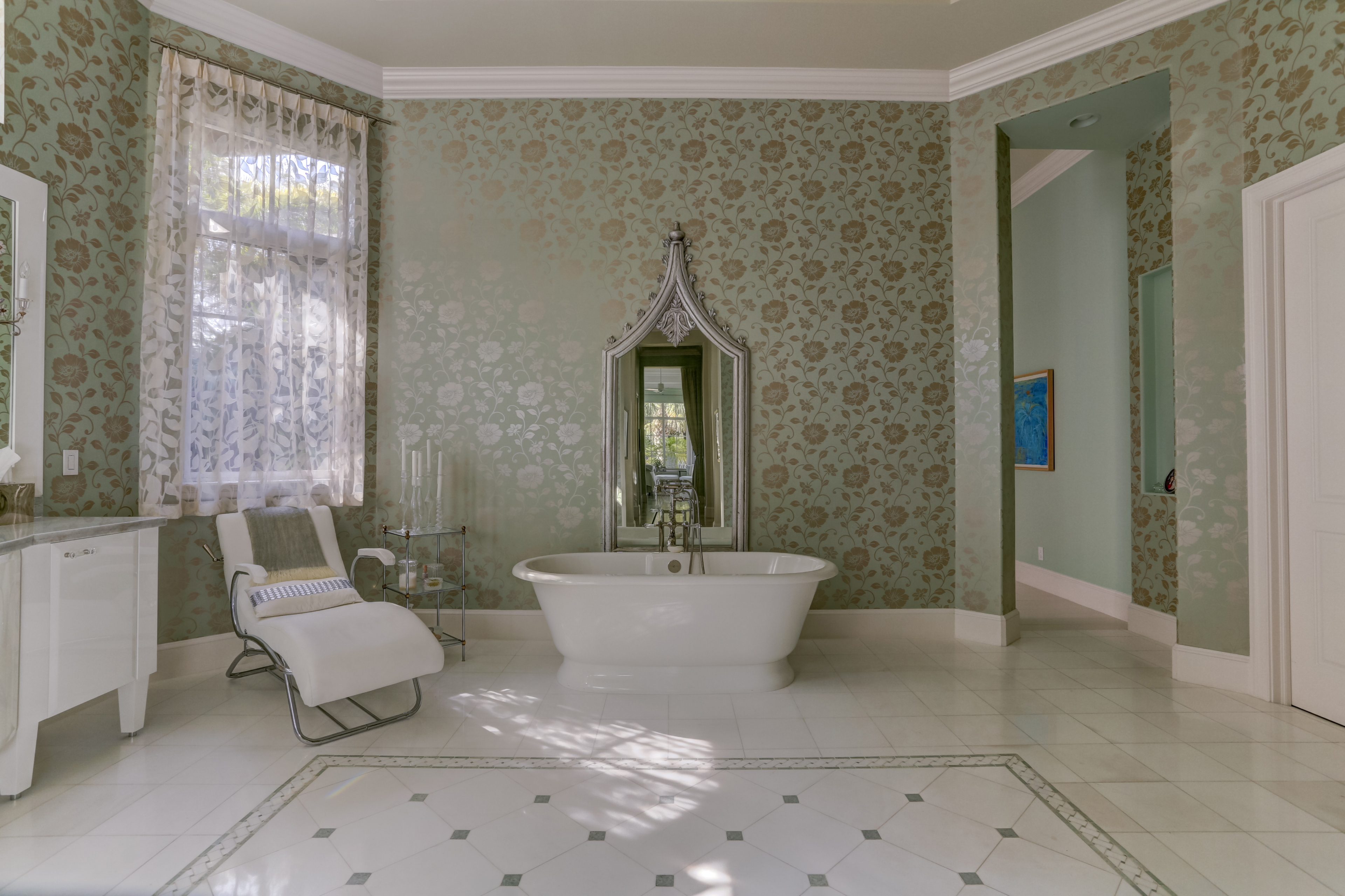 Master Bath with Antique Indian Mirror