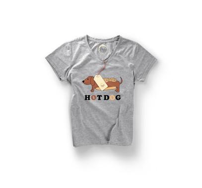 hot dog grey Woman-Marl-T-shirt-Front.jp