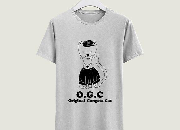 חולצה חתול גנגסטר - לבן