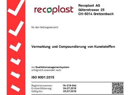 2016 Erstzertifizierung ISO 9001:2015