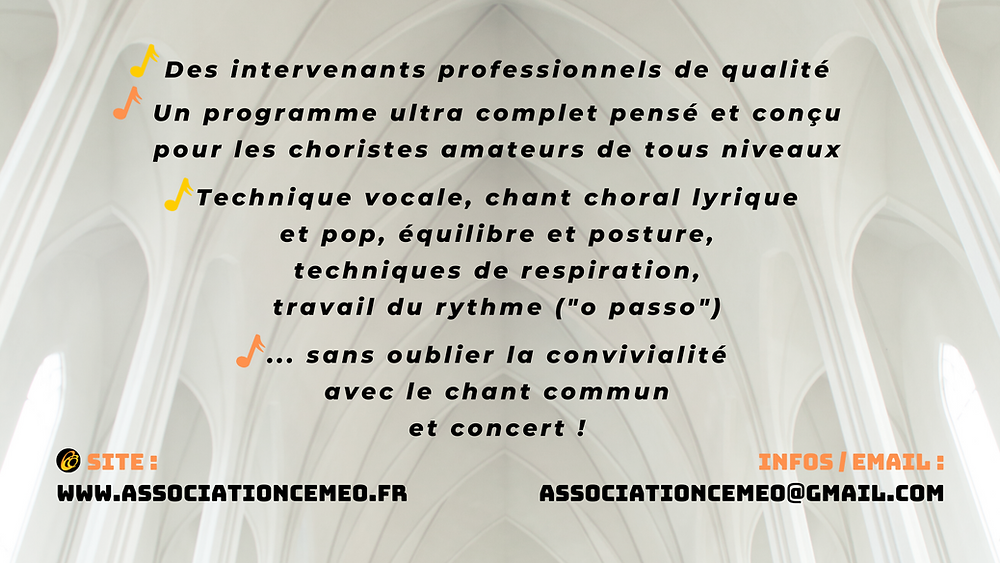 stage de chant choral 2020 | intervenants | programme | cemeo