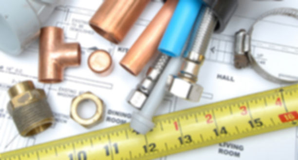 copper pipe, copper cap, copper tee fitting, supply lines, pex pipe, abs pipe, no hub band, measuring tape, nut, nipple, blue prints, pvc cap