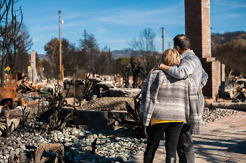 Man and his wife owners, checking burned