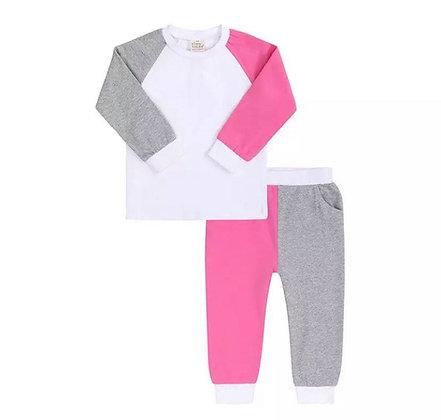 Kids Tales Pink & Grey Contrast Lounge Set