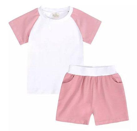 Kids Tales Block Pink Contrast Shorts Set