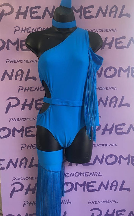 'Chloe' Leotard with leg and arm fringed stockings