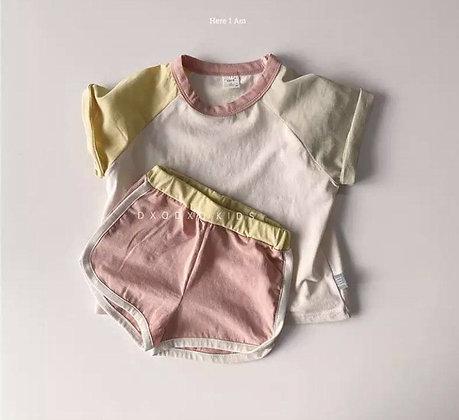 Dusky Pink Multi Coloured Short Set