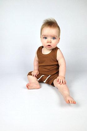 Tan Ribbed Shorts/Vest Set