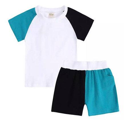 Kids Tales Black & Teal Contrast Shorts Set