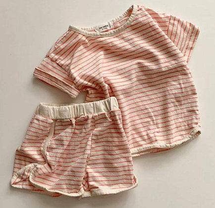 Orange  Strip Short Set