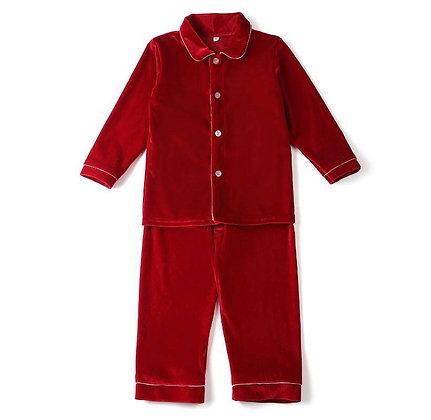 PRE-ORDER-Boys Velour Red Pyjama- DUE NOVEMBER