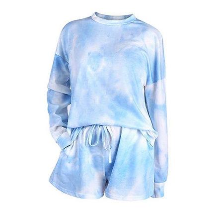 Ladies Light Blue Tie Dye Shorts Lounge Set