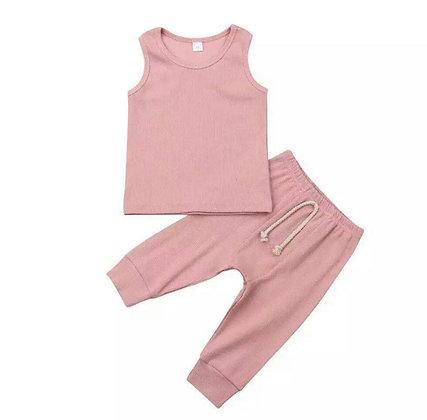 Pink Ribbed Vest Set