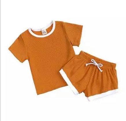 Mustard Shorts and T-Shirt Set