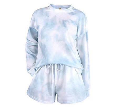 Ladies Mint Tie Dye Shorts Lounge Set