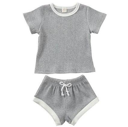 Grey Shorts and T-Shirt Set