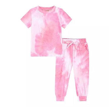 Pink  Tie Dye Trouser Set