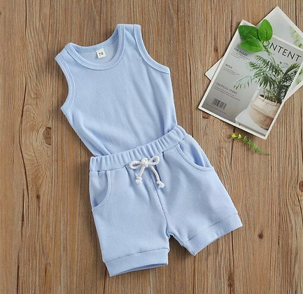 Light Blue Ribbed Shorts/Vest Set