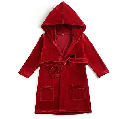 PRE-ORDER-Boys Red Velour Robe -DUE NOVEMBER