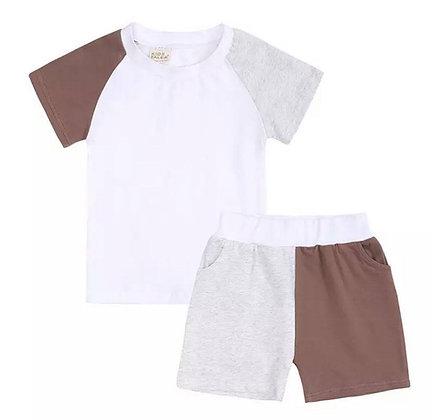 Kids Tales Brown & Beige Shorts Set