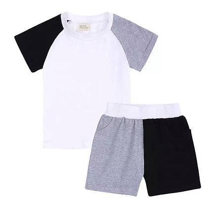 Kids Tales Grey & Black Shorts Set