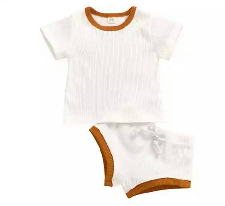 White/Mustard Shorts and T-Shirt Set