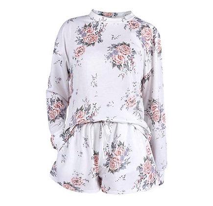 Ladies Floral Tie Dye Shorts Lounge Set