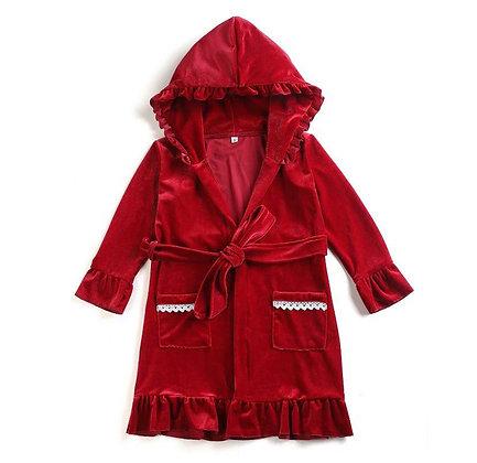 PRE-ORDER- Girls Red Velour Robe -DUE NOVEMBER