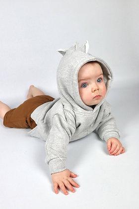 Grey Dinosaur Hoodie