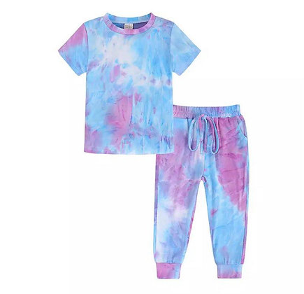 Blue & Dark Pink Tie Dye Trouser Set