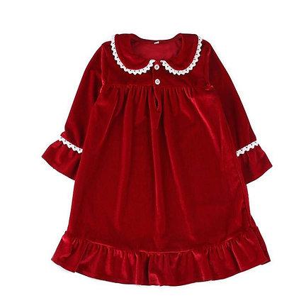 PRE-ORDER-Girls Red Velour Nightie-DUE NOVEMBER