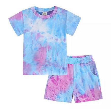Blue & Dark Pink Tie Dye Short Set