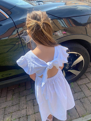 White Tie Back Dress