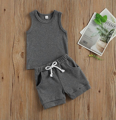 Grey Ribbed Shorts/Vest Set