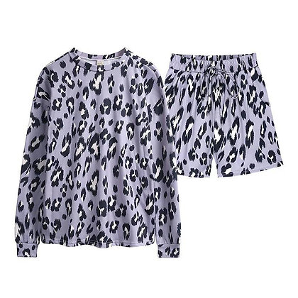 Ladies Grey Leopard Shorts Lounge Set