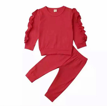 Red Frilled Arm Lounge Wear