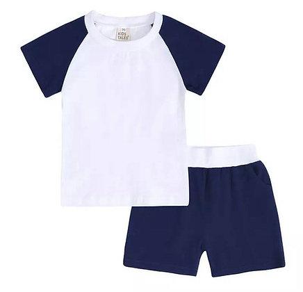 Kids Tales Block Navy Contrast Shorts Set