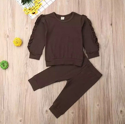 Brown Frilled Arm Lounge Wear
