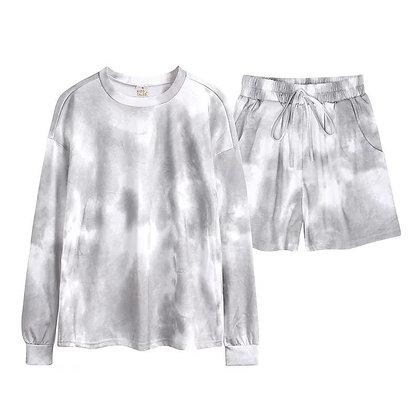 Ladies Kharki Tie Dye Shorts Lounge Set