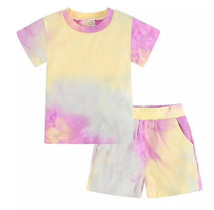 Green/Yellow/Pink Tie Dye Short Set