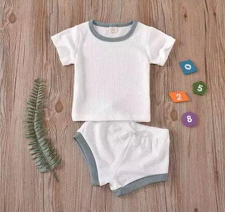 White/Mint Shorts and T-Shirt Set