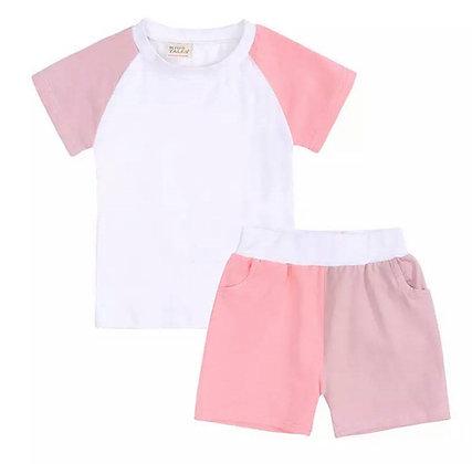 Kids Tales Pink Contrast Shorts Set