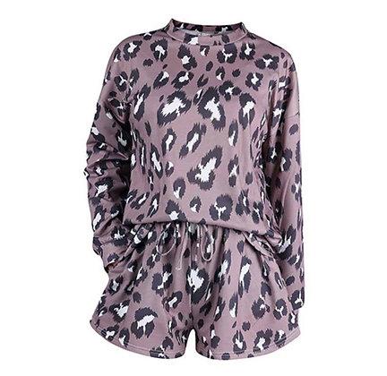 Ladies Brown Leopard Shorts Lounge Set