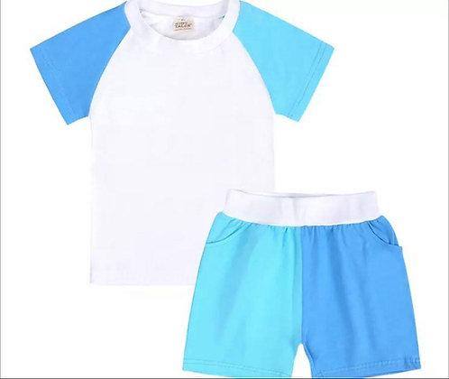 Kids Tales Blue & Turquiose Contrast Shorts Set