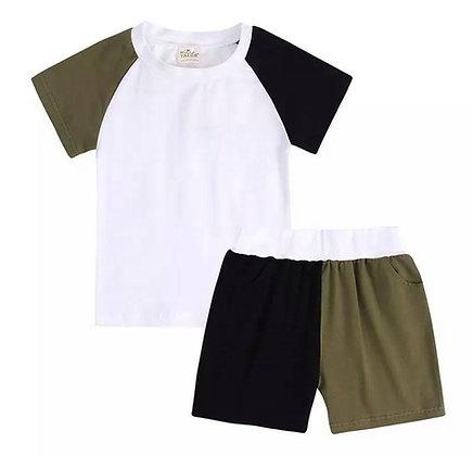 Kids Tales Black & Khaki Contrast Shorts Set