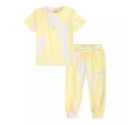 Light Lemon Tie Dye Trouser Set
